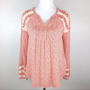 Lucky Brand Red Floral Boho Peasant Top XS